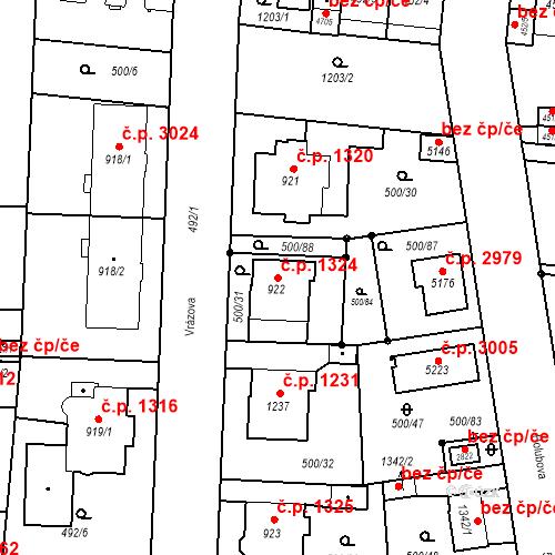 Katastrální mapa Stavební objekt Vítkovice 1324, Ostrava