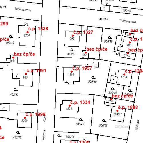 Katastrální mapa Stavební objekt Vítkovice 1957, Ostrava