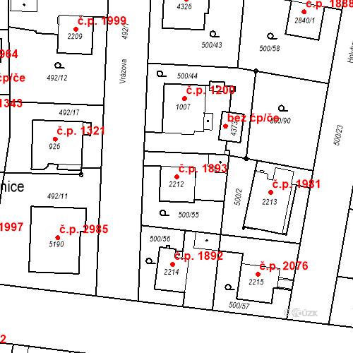 Katastrální mapa Stavební objekt Vítkovice 1893, Ostrava