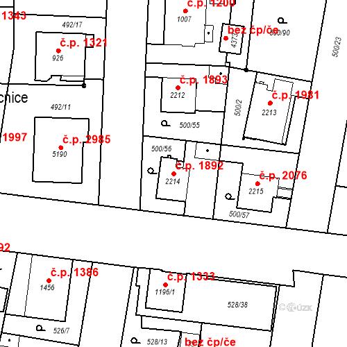 Katastrální mapa Stavební objekt Vítkovice 1892, Ostrava