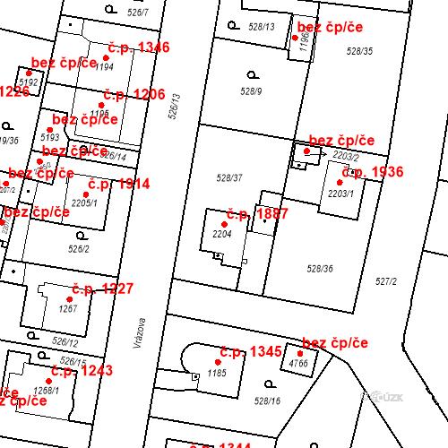 Katastrální mapa Stavební objekt Vítkovice 1887, Ostrava