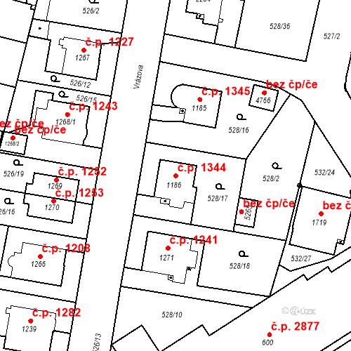 Katastrální mapa Stavební objekt Vítkovice 1344, Ostrava