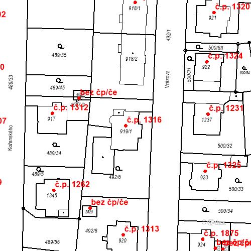 Katastrální mapa Stavební objekt Vítkovice 1316, Ostrava