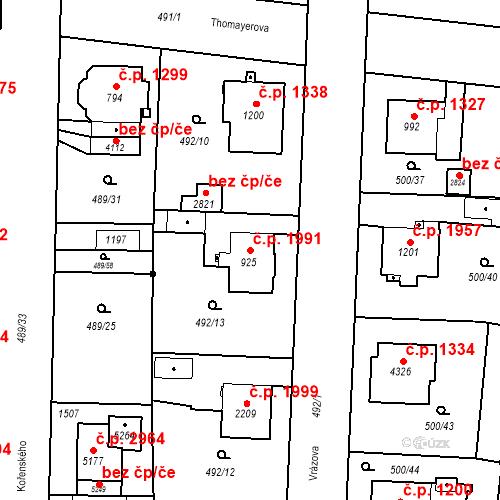 Katastrální mapa Stavební objekt Vítkovice 1991, Ostrava