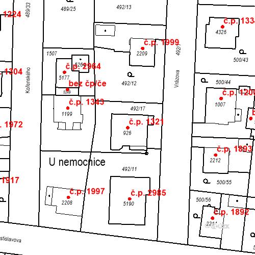 Katastrální mapa Stavební objekt Vítkovice 1321, Ostrava