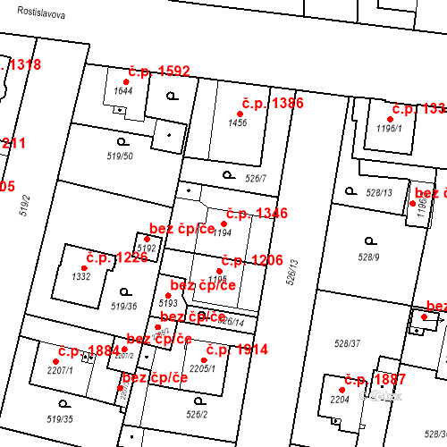 Katastrální mapa Stavební objekt Vítkovice 1346, Ostrava