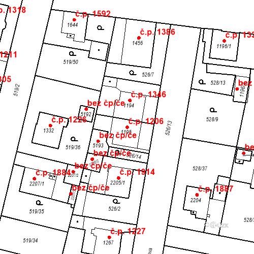 Katastrální mapa Stavební objekt Vítkovice 1206, Ostrava