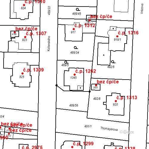 Katastrální mapa Stavební objekt Vítkovice 1262, Ostrava