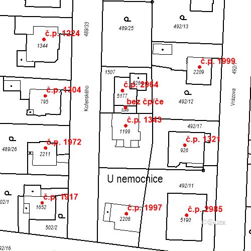 Katastrální mapa Stavební objekt Vítkovice 1343, Ostrava