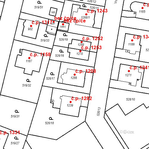 Katastrální mapa Stavební objekt Vítkovice 1208, Ostrava