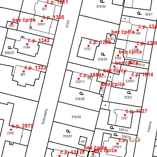 Katastrální mapa Stavební objekt Vítkovice 1884, Ostrava