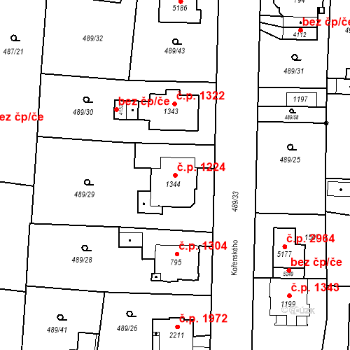 Katastrální mapa Stavební objekt Vítkovice 1224, Ostrava