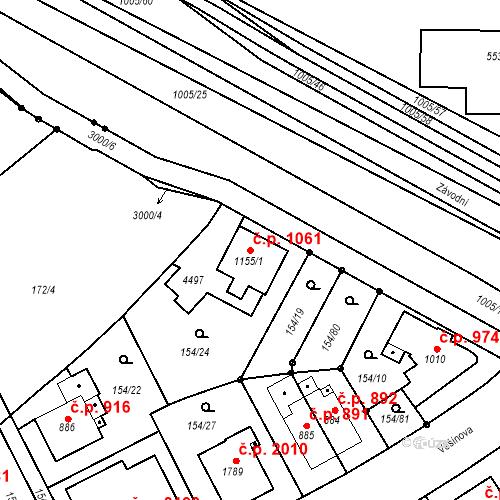 Katastrální mapa Stavební objekt Zábřeh 1061, Ostrava