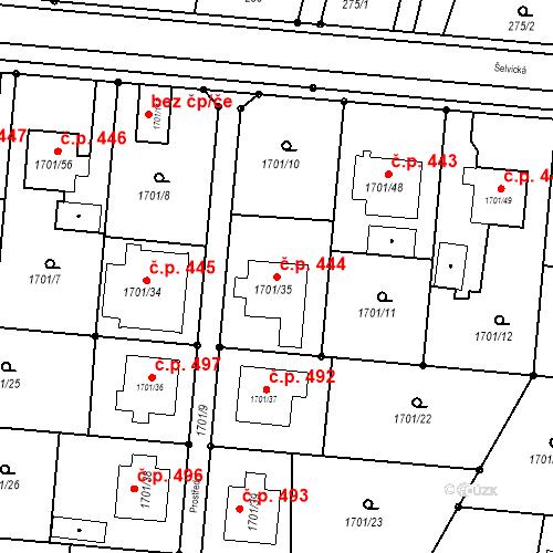 Katastrální mapa Stavební objekt Hať 444, Hať