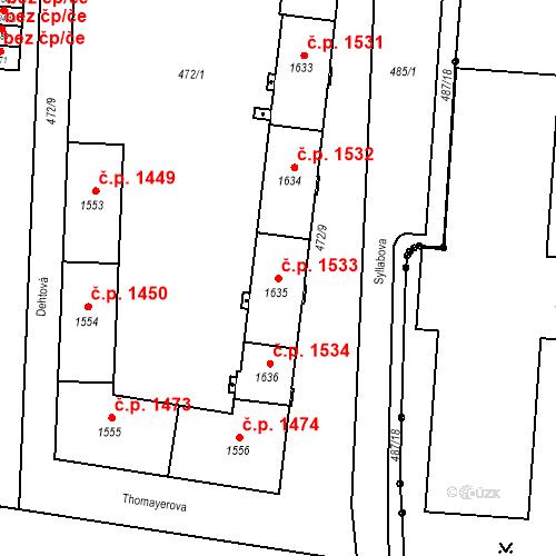Katastrální mapa Stavební objekt Vítkovice 1533, Ostrava