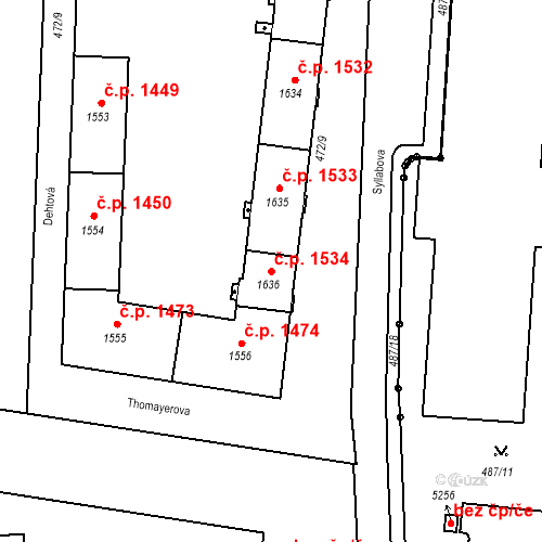 Katastrální mapa Stavební objekt Vítkovice 1534, Ostrava
