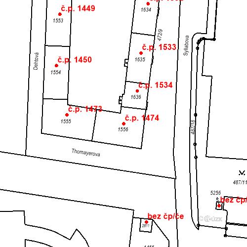 Katastrální mapa Stavební objekt Vítkovice 1474, Ostrava