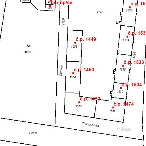 Katastrální mapa Stavební objekt Vítkovice 1450, Ostrava