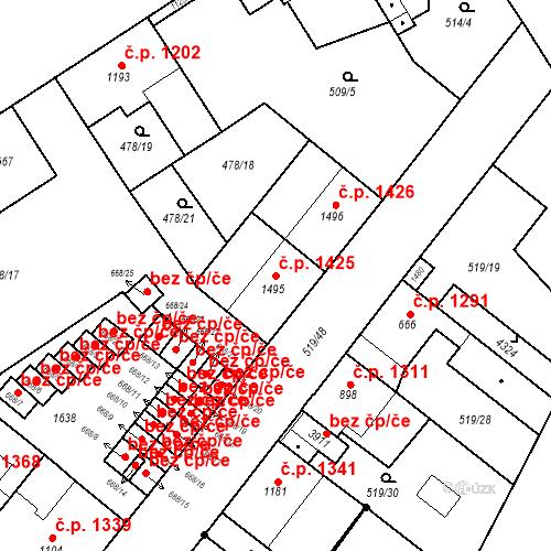Katastrální mapa Stavební objekt Vítkovice 1425, Ostrava