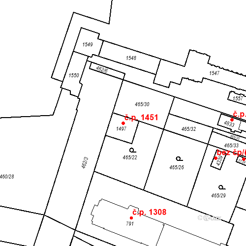 Katastrální mapa Stavební objekt Vítkovice 1451, Ostrava