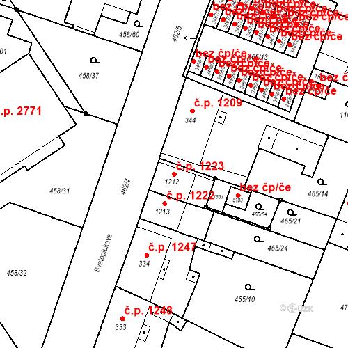 Katastrální mapa Stavební objekt Vítkovice 1223, Ostrava