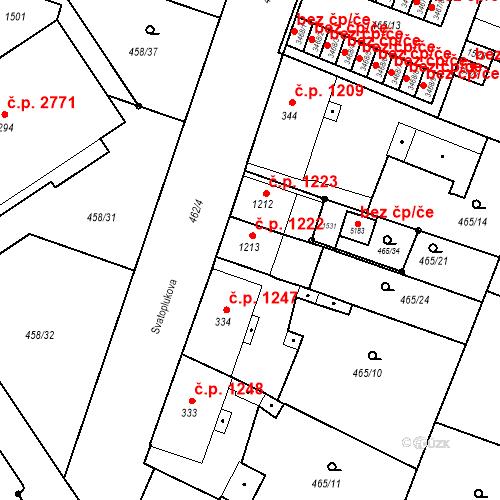 Katastrální mapa Stavební objekt Vítkovice 1222, Ostrava