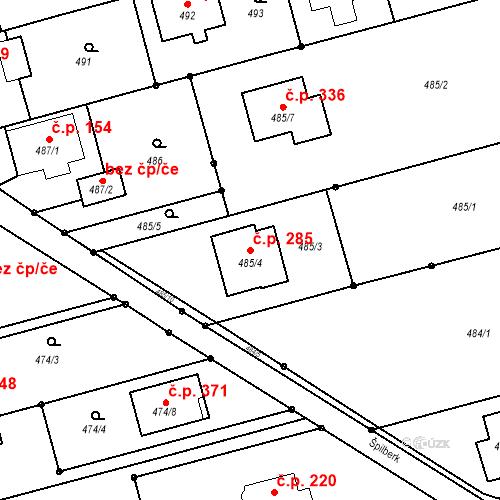 Katastrální mapa Stavební objekt Darkovice 285, Darkovice