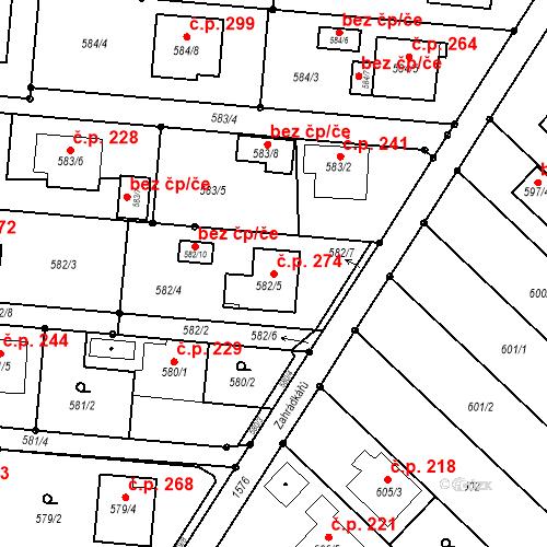 Katastrální mapa Stavební objekt Darkovice 274, Darkovice