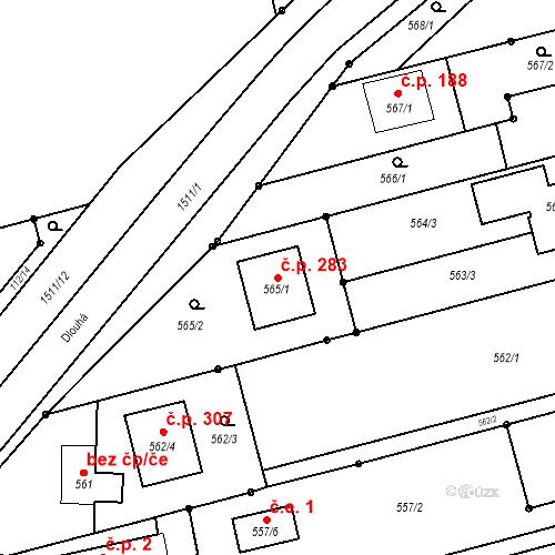 Katastrální mapa Stavební objekt Darkovice 283, Darkovice