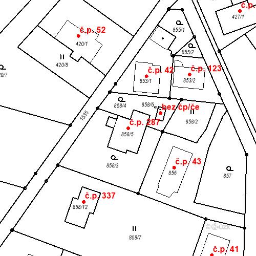 Katastrální mapa Stavební objekt Darkovice 287, Darkovice