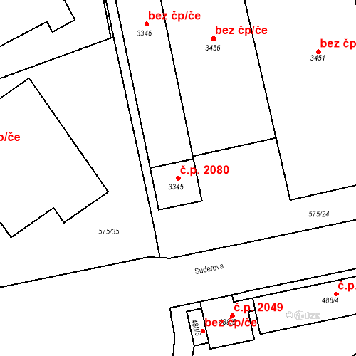 Katastrální mapa Stavební objekt Mariánské Hory 2080, Ostrava