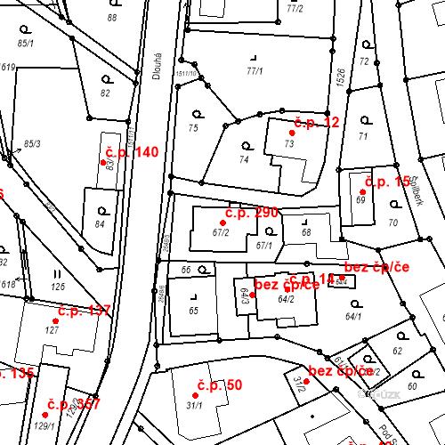 Katastrální mapa Stavební objekt Darkovice 290, Darkovice