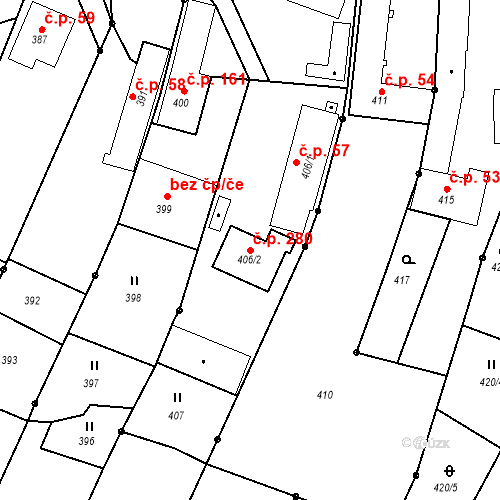 Katastrální mapa Stavební objekt Darkovice 280, Darkovice