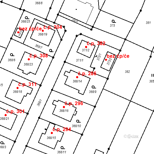 Katastrální mapa Stavební objekt Darkovice 286, Darkovice