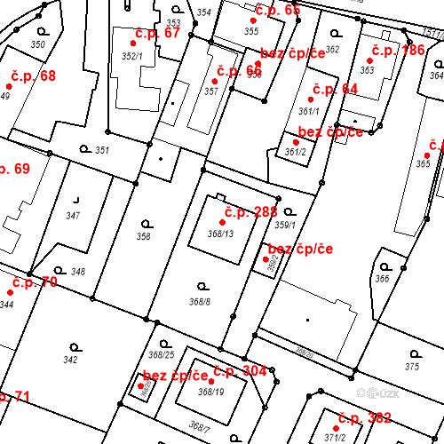 Katastrální mapa Stavební objekt Darkovice 288, Darkovice