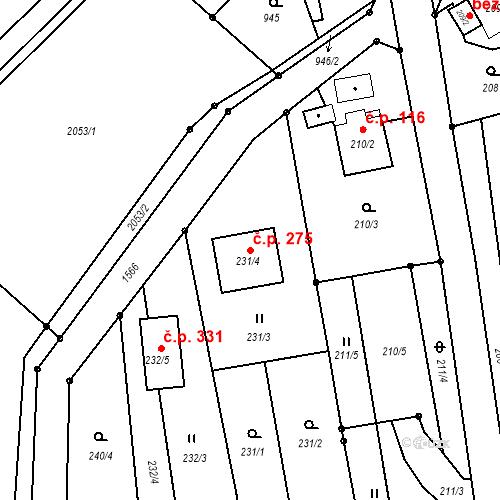 Katastrální mapa Stavební objekt Darkovice 275, Darkovice