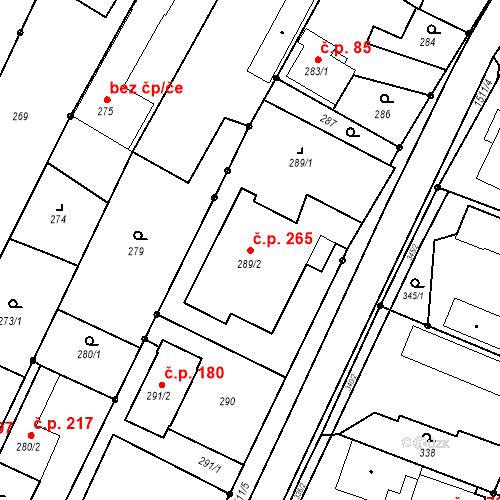 Katastrální mapa Stavební objekt Darkovice 265, Darkovice