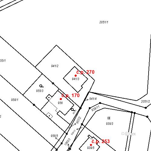 Katastrální mapa Stavební objekt Darkovice 270, Darkovice