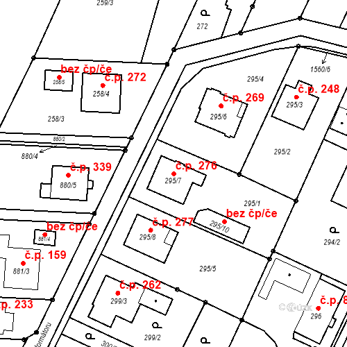 Katastrální mapa Stavební objekt Darkovice 276, Darkovice