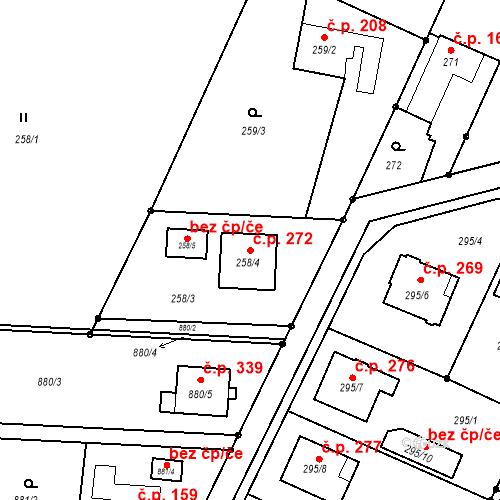 Katastrální mapa Stavební objekt Darkovice 272, Darkovice