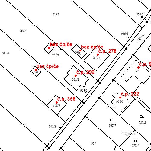 Katastrální mapa Stavební objekt Darkovice 292, Darkovice