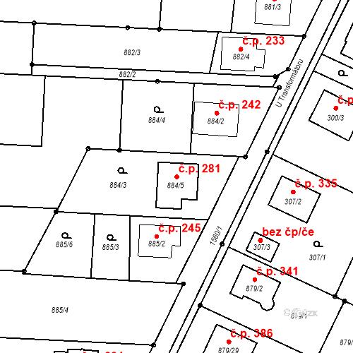 Katastrální mapa Stavební objekt Darkovice 281, Darkovice
