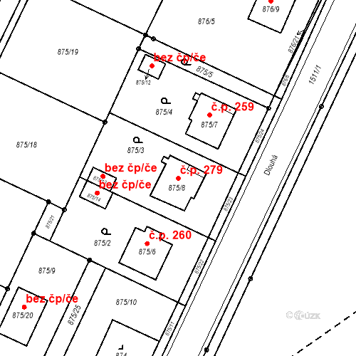 Katastrální mapa Stavební objekt Darkovice 279, Darkovice
