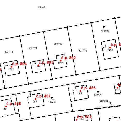 Katastrální mapa Stavební objekt Kozlovice 892, Kozlovice