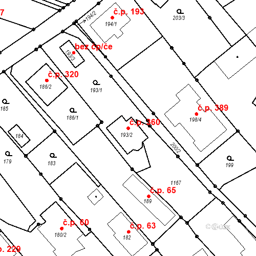 Katastrální mapa Stavební objekt Darkovičky 360, Hlučín