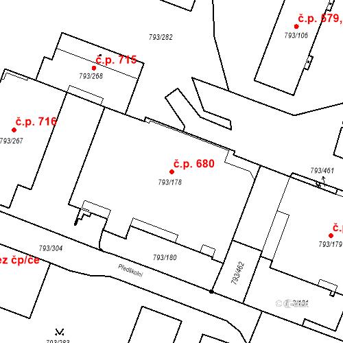 Katastrální mapa Stavební objekt Výškovice 680, Ostrava