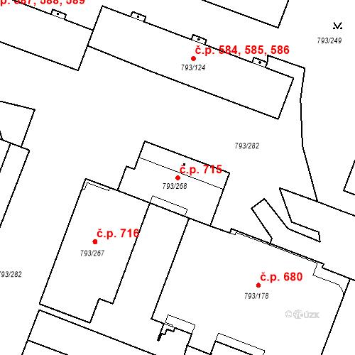 Katastrální mapa Stavební objekt Výškovice 715, Ostrava