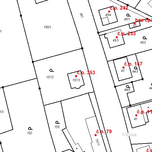 Katastrální mapa Stavební objekt Vřesina 353, Vřesina