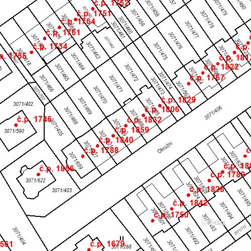 Katastrální mapa Stavební objekt Hlučín 1832, Hlučín
