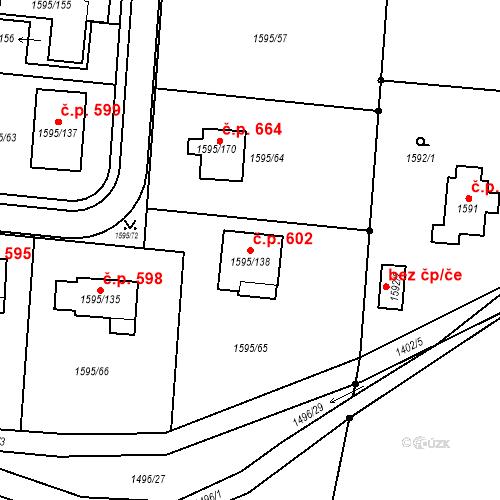 Katastrální mapa Stavební objekt Tichá 602, Tichá